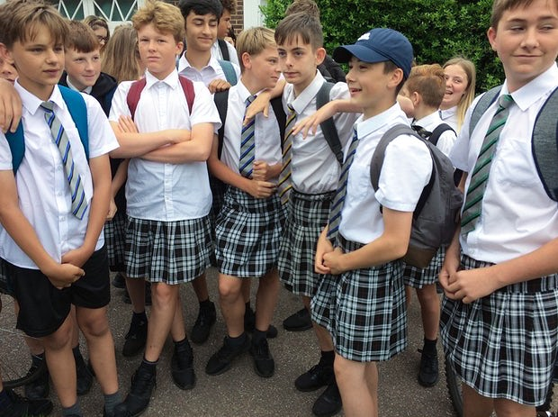 UK schoolboys wear skirts to protest against ban on shorts