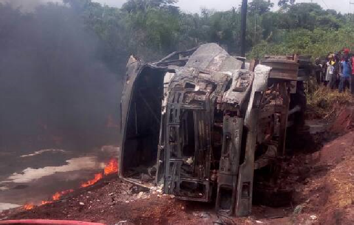 Driver, mate in dramatic escape from fuel tanker blaze