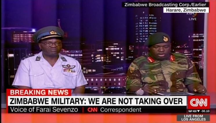 Zimbabwe army denies military takeover in live address on state TV