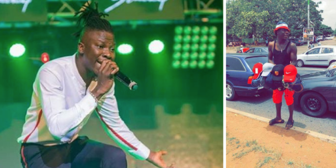 Photos: Stonebwoy spotted selling on the streets of Accra