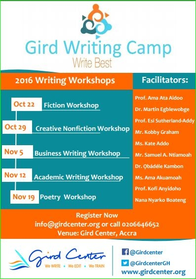 Ghanaian Creative, Corporate and Academic Giants to lead Gird Writing Camp 2016