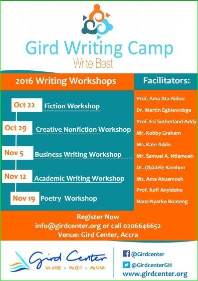 Ghanaian Creative, Corporate and Academic Giants to lead Gird Writing Camp 2016