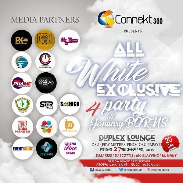Tonight is the ALL WHITE EXCLUSIVE PARTY