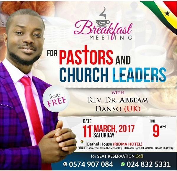 Pastors, Church Leaders & Others for Special 'Breakfast Meeting' Conference