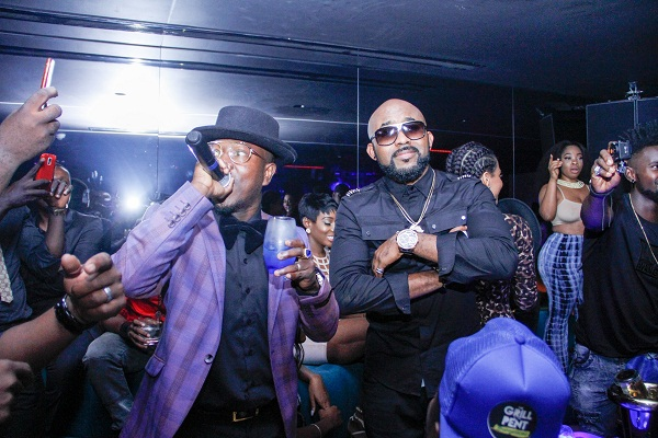Flowkingstone celebrates VGMA award at Ciroc Party with Banky W