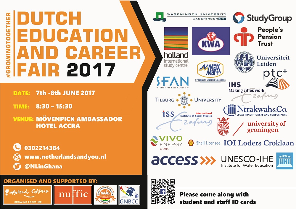 "The Embassy of the Kingdom of the Netherlands announces the 2017 Dutch  Education and Career Fair, themed ""Holland - Ghana, Growing Together"""