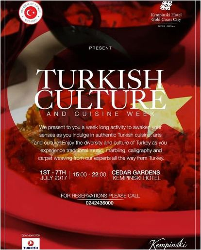 Turkey Embassy and Kempinski Hotel Schedule Turkish Culture and Cuisine Week for JULY 1-7