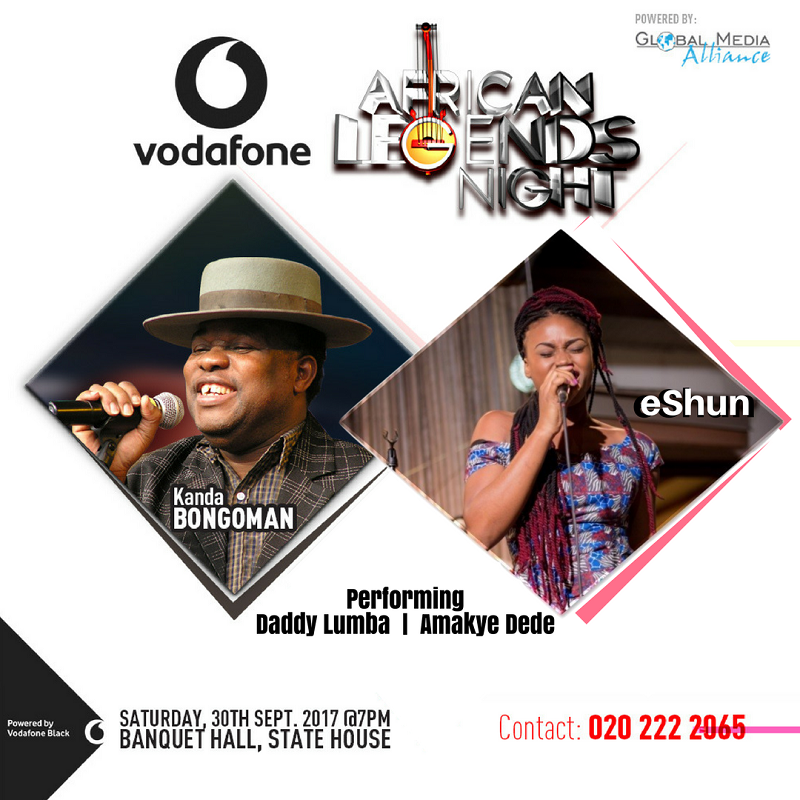 Ghanaian Singer eShun To Perform with Kanda Bongoman Amakye Dede and Daddy Lumba at Vodafone African Legends Night