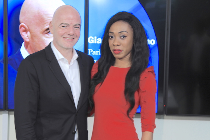 PHOTOS: Ghanaian Sports Journalist Juliet Bawuah interviews FIFA President Gianni Infantino