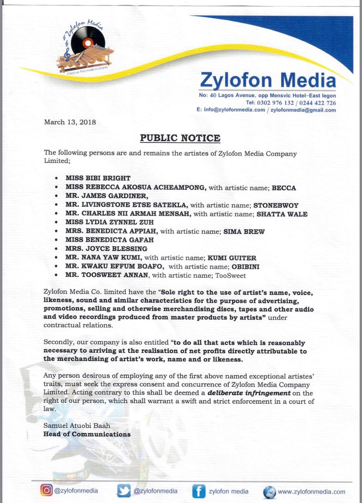 PRESS STATEMENT: Zylofon Media Names All 12 Artistes | YFM Ghana
