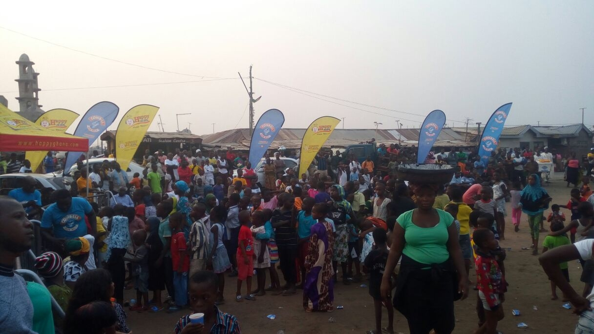 Sabon Zongo Residents Watch Ghana-Uganda Game on Cowbell Giant Screen