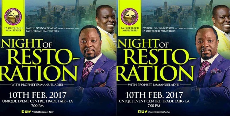 Accra to stand still On Friday with NIGHT OF RESTORATION