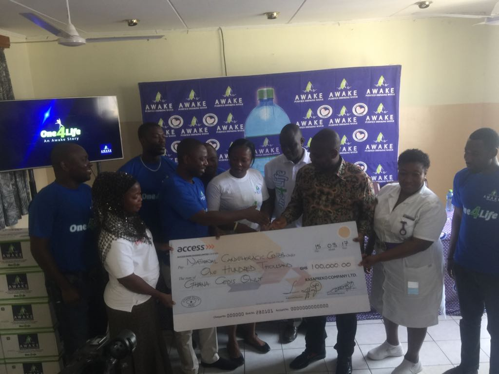 AWAKE WATER DISTRIBUTORS PRESENT GHC100,000 TO CARDIO CENTRE