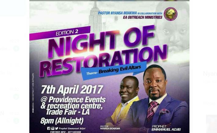 SECOND EDITION OF NIGHT OF RESTORATION ON TONIGHT