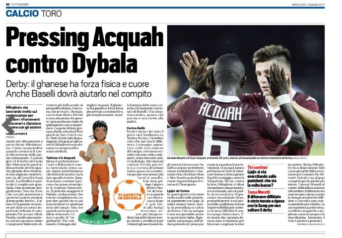 Torino coach tips Afriyie Acquah-Baselli combo to halt Juventus onslaught