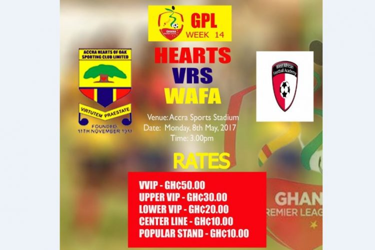 Hearts vs WAFA game moved to Monday- As stadium is unavailable on Sunday