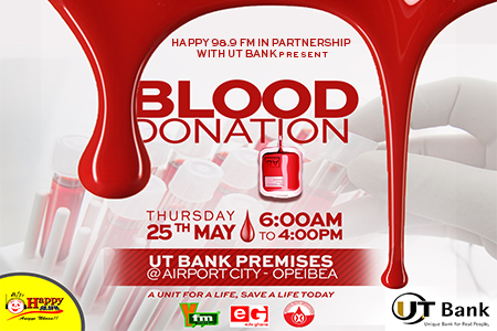 HAPPY FM,UT BANK BLOOD DONATION ON THURSDAY