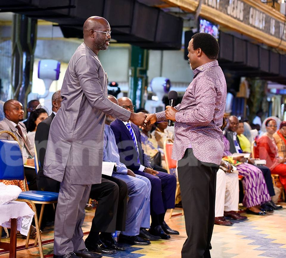 George Weah Visits TB Joshua; Seeks God's Face To Win Liberia Presidency