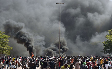 Burkina Faso Protesters Set Fire To Parliament