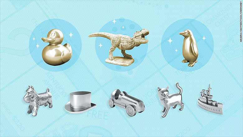 3 New Monopoly Tokens: T. Rex, Penguin, Ducky