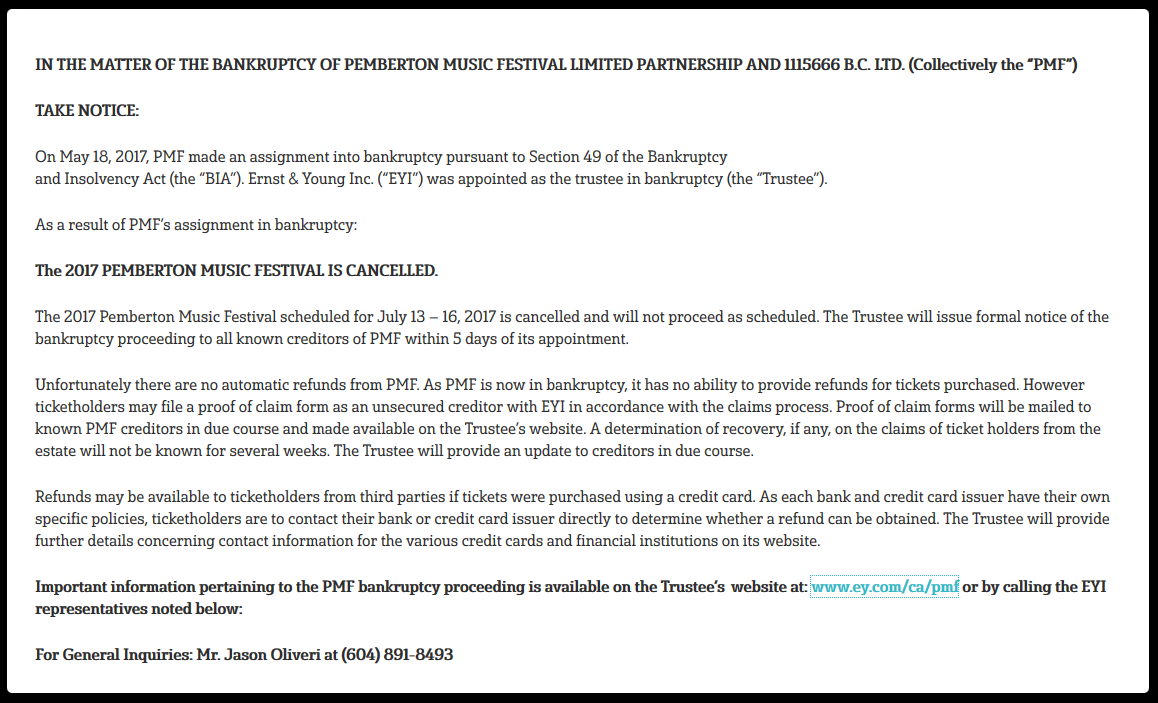 PMF Trustee Notice