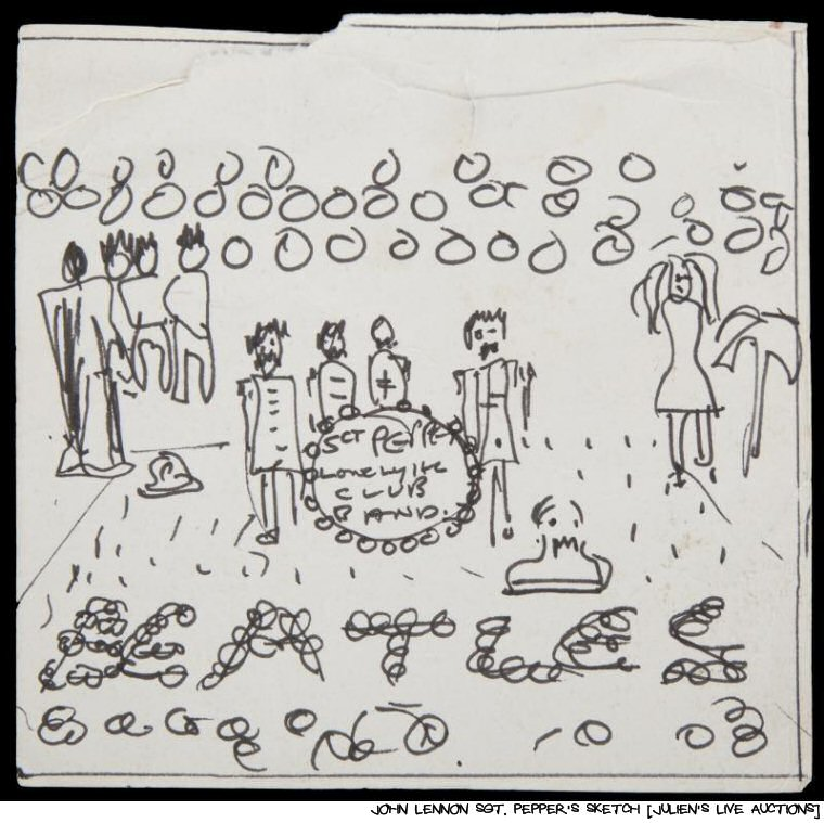 Tax Refund Spending Idea #729:  John Lennon's Sketch For The Sgt. Pepper's Cover Goes On The Auction Block