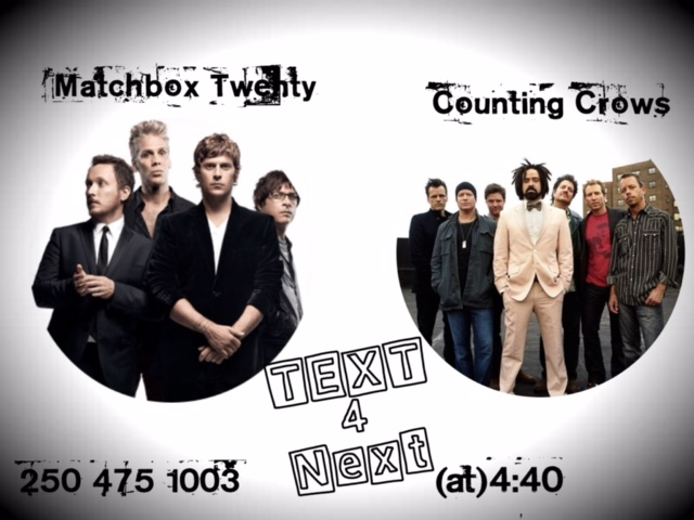 TEXT 4 NEXT to Win: Matchbox Twenty vs. Counting Crows
