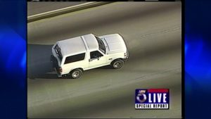 June 17th, 1994, TV aired non-stop coverage of the most famous car chase to have ever taken place: O.J. Simpson in a white Ford Bronco.