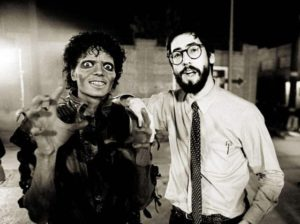 Michael Jackson and director John Landis during the filming of Thriller.
