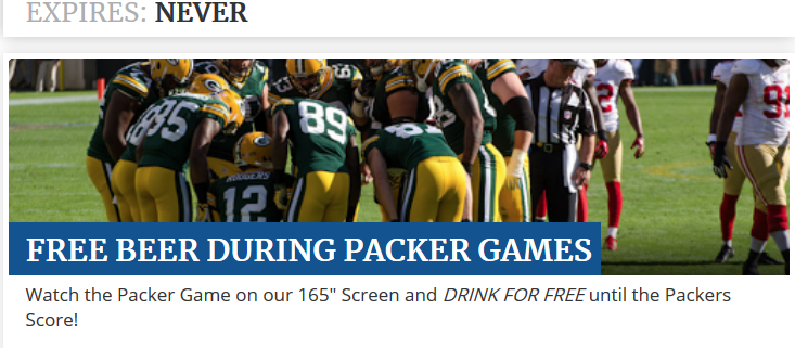 bar offers free beer until Packers score: forced to give away 300 cups