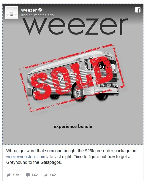 Who bought that $25,000 Weezer package? Rainn Wilson did.