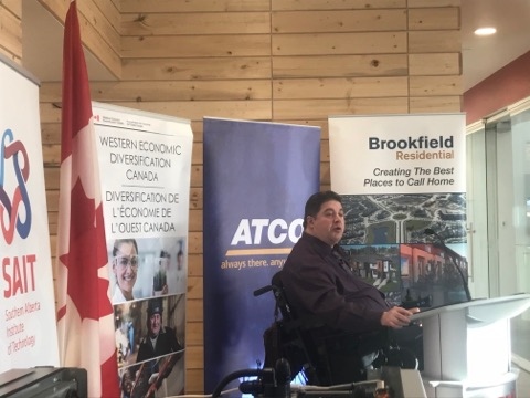Kent Hehr comes to SAIT to announce funding for energy efficient homes.