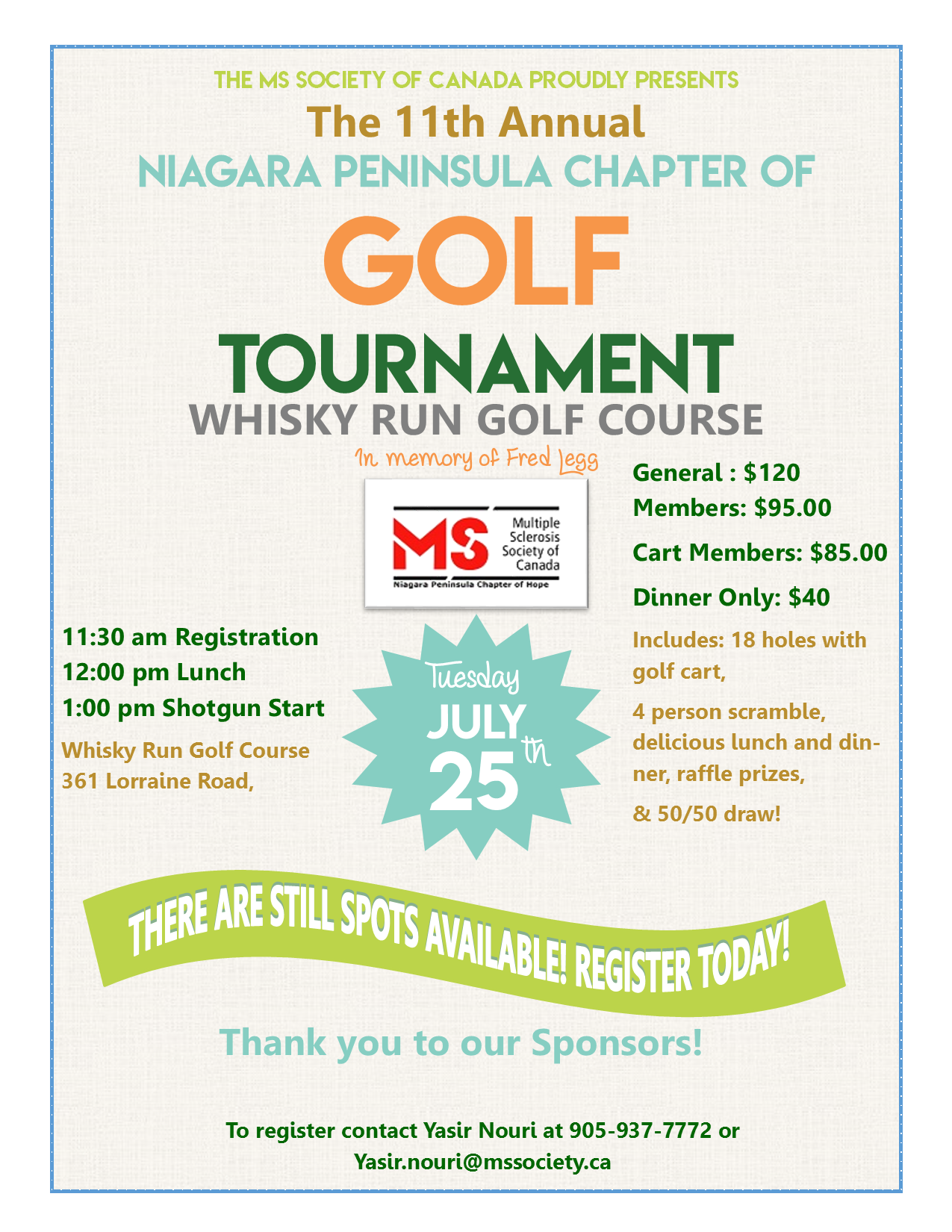 11th Annual Niagara Peninsula Golf Tournament in Support of the MS Society