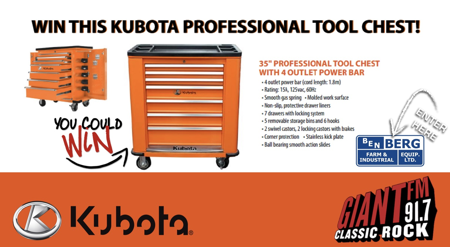 KUBOTA Tool Box Giveaway this Saturday at Ben Berg!