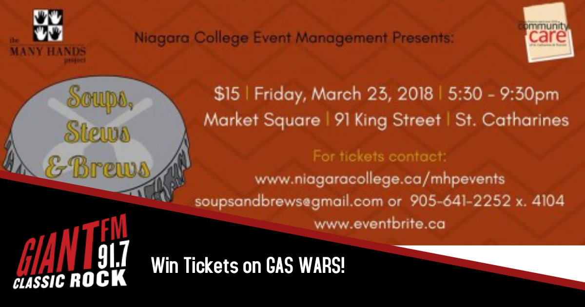 Gas Wars wants to send you to SOUPS, STEWS & BREWS!