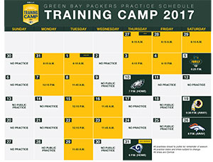 15 practices open to public as Packers release 2017 training camp schedule