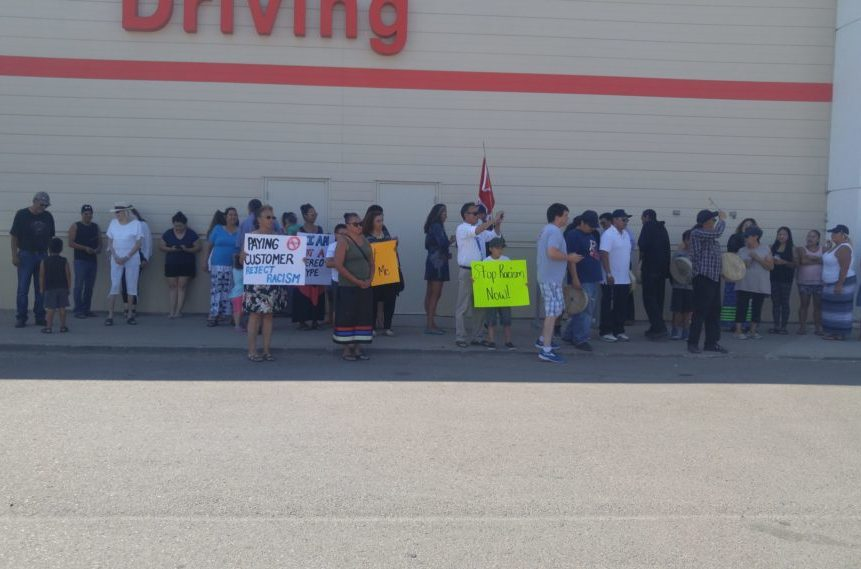 People were out in front of Regina's east end Canadian Tire in support of Kamao Cappo on July 28, 2017. (Britton Gray/980 CJME)
