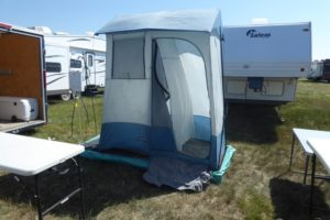 Rob Swaney brought along a water tank and portable shower to Country Thunder on July 13, 2017. (Britton Gray/980 CJME)