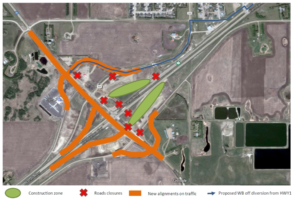 A map posted by Regina Bypass shows a detour to Highway 1 eastbound. (Regina Bypass)