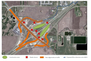A map posted by Regina Bypass shows the westbound off-ramp diversion. (Regina Bypass)