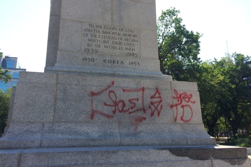 'Just appalling:' Legion reacts to Regina Cenotaph vandalism