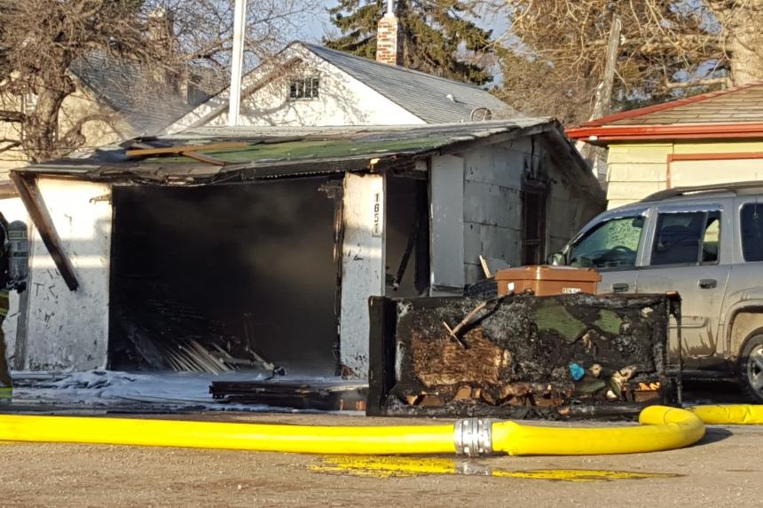 Fire burns garage east of downtown Regina