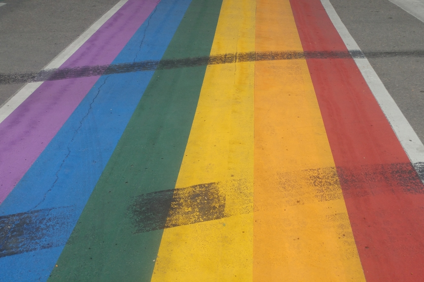 'Sign of hatred:' Rainbow crosswalk defaced by tire burn out