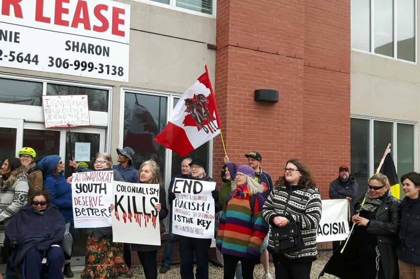 Advocates rally for change outside Aboriginal Affairs office in Regina