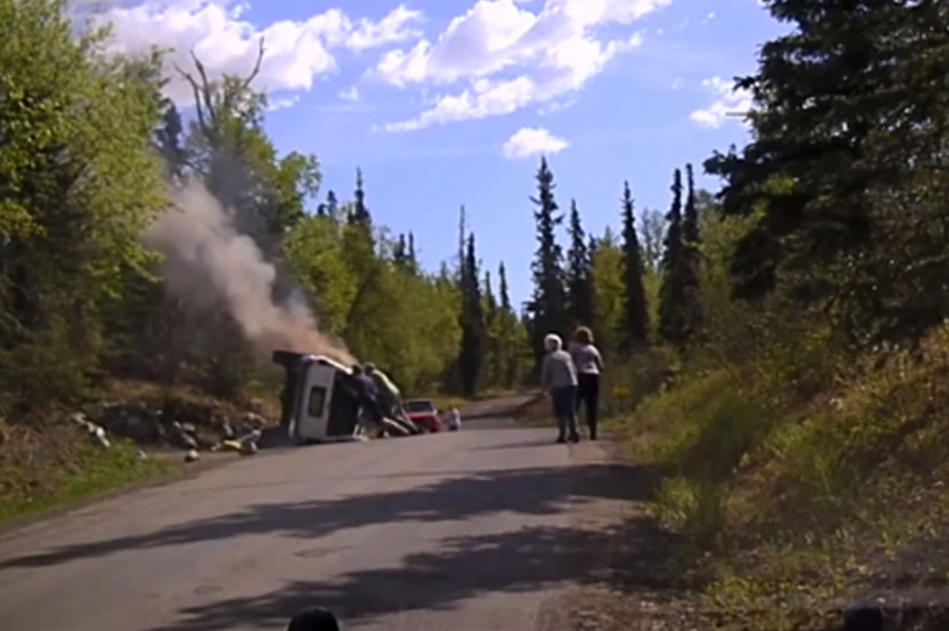 Dash cam catches dramatic rescue of man from burning SUV in Alaska