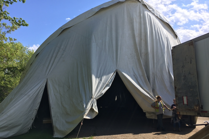 Big white tent goes up for Shakespeare on the Saskatchewan