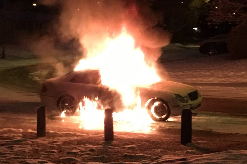People wake up to flaming BMV on  Saskatoon street