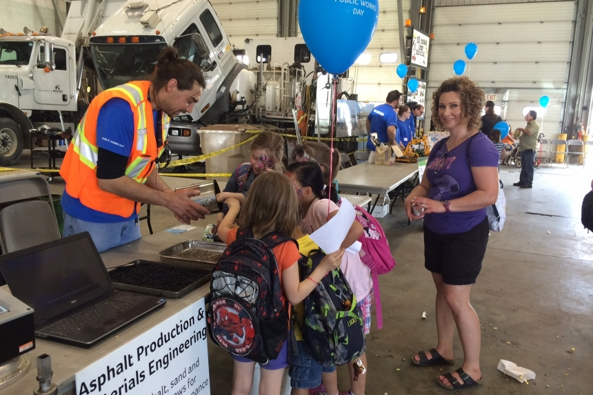 Kids learn about road work, fire trucks at City of Regina Public Works Day