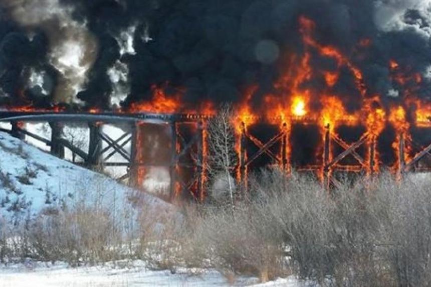 No charges laid in Porcupine Plain train bridge blaze