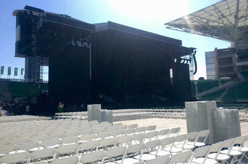 Guns N' Roses' production crew said set up is right on schedule for the concert Aug. 27, 2017. (Jessie Anton/980 CJME)